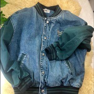 Jackets & Blazers - Budlight Baseball Style Jacket Blue Denim / Green